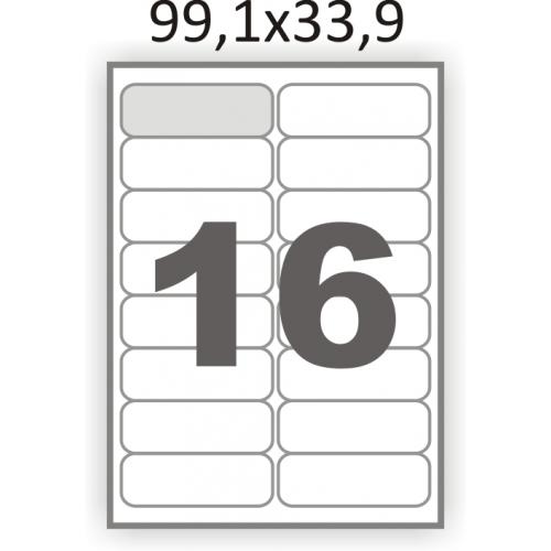 Cамоклеющиеся этикетки А4 (99х34) на листе 16, самоклейка (для струйных и лазерных принтеров)