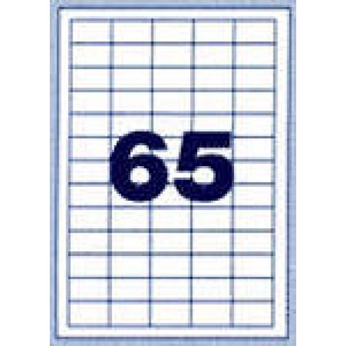 Самоклеющаяся этикетка на листах А4 (100 листов) 65 шт. (38x21мм) закругленные края