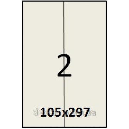 Cамоклеющаяся Налипки на листе А4 (100листов) 2 шт. (105х297 мм)