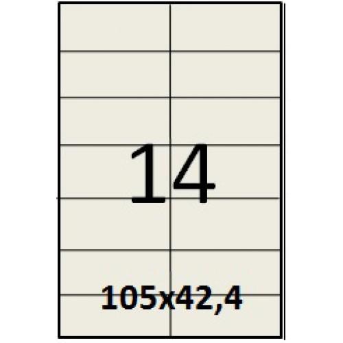 Cамоклеющаяся этикетки для принтера  с высечкой (100 листов) 14 шт. (105х42,4 мм)