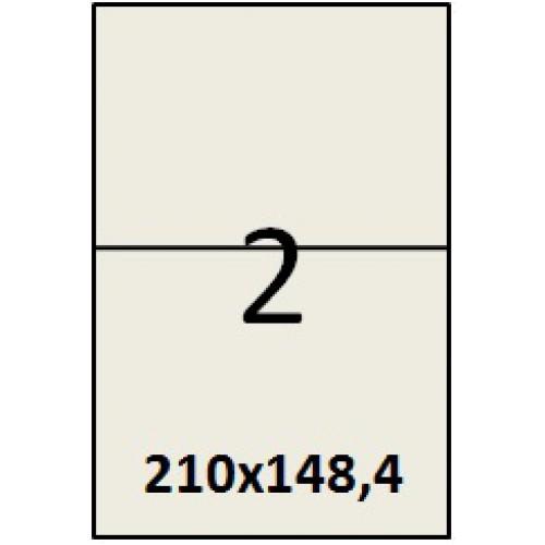 Cамоклеющаяся этикетка (наклейки) на листах А4 (100 листов) 2 шт. (210x148,5 мм)