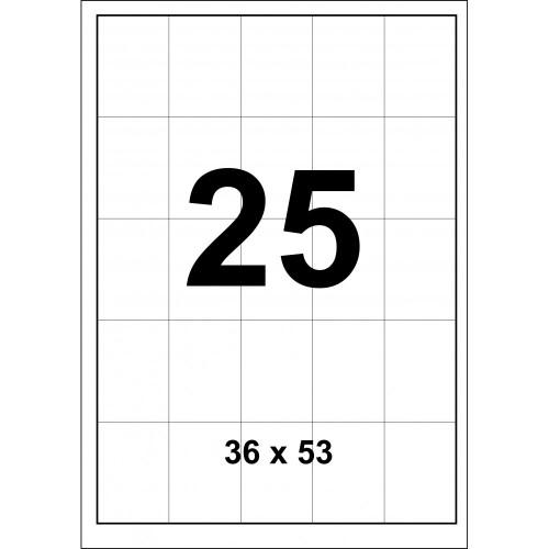 Cамоклеющиеся cтикера А4 (100 листов) 25 шт 36x53мм
