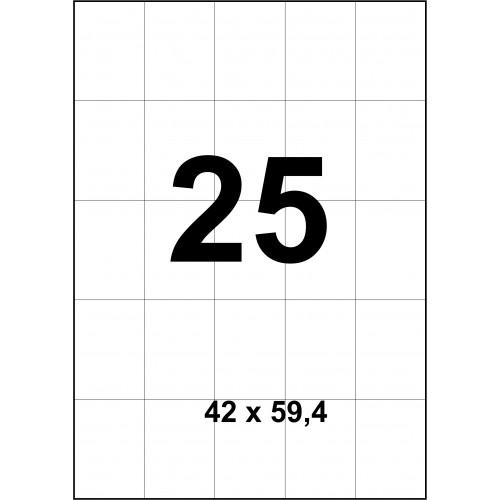 Cамоклеящиеся cтикера А4 (100 листов) 25 шт 42x59,4мм