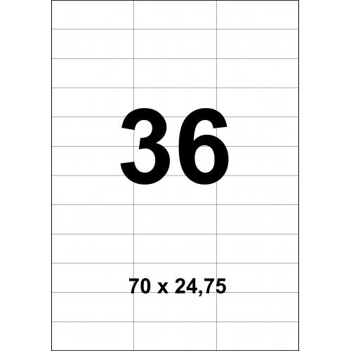 Cамоклеющиеся стикеры на листе А4 (100листов)  36 шт. (70х24,75мм)