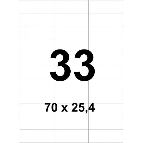 Cамоклеющаяся этикетка на формате А4 (100 листов) 33 шт. (70x25,4мм)